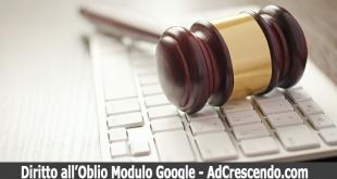 diritto oblio google modulo