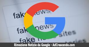 rimozione notizie da google